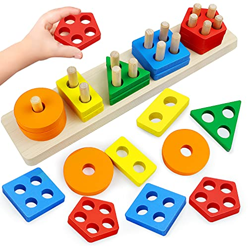 Montessori Toys for 1 to 3-Year-Old Boys Girls Toddlers, Wooden Sorting & Stacking Toys for Toddlers and Kids Preschool, Educational Toys, Color Recognition Stacker Shape Sorter, Learning Puzzles Gift