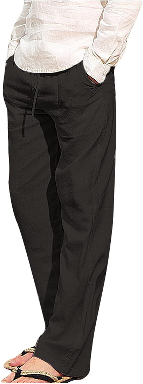 Sacramento Mall QTOCIO Yoga Pants Sweatpants Mens Fit Loose Linen D 35% OFF Casual