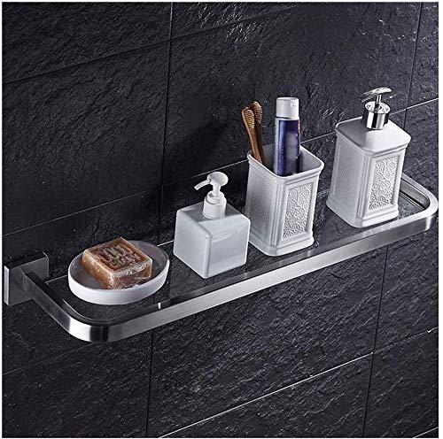 DHTOMC Estante de la Pared del baño 1 Nivel de baño con estantes de Acero Inoxidable y Ganchos Estante de Vidrio Templado montado en la Pared (Tamaño: 50,5 cm) Xping (Size : 50.5cm)