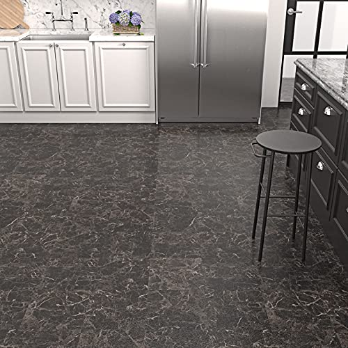 WESTICK 12' x 12' Home Decor Marble Light Black Vinyl Flooring Stickers Waterproof Bathroom Tile Self Adhesive Anti-Friction Non-Slip Kitchen Backsplash Tiles Stickers Easy to Apply Wall Decals 10 Pcs