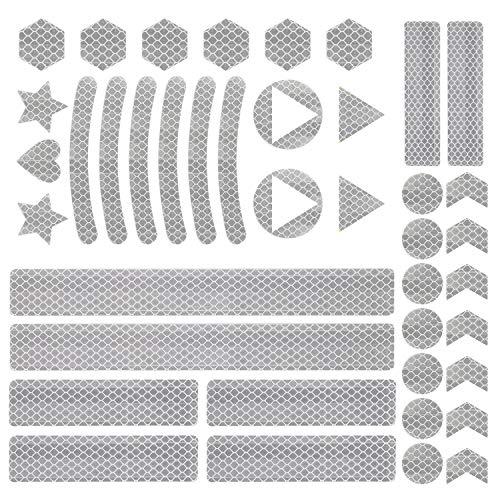 Vegena 41 Stück Reflektoren Aufkleber Sticker, Reflektor Sticker Fahrrad, Reflektierende Aufkleber Kleidung, Reflektoraufkleber Set für Kinderwagen und Helme - Selbstklebend und Hochreflektierend