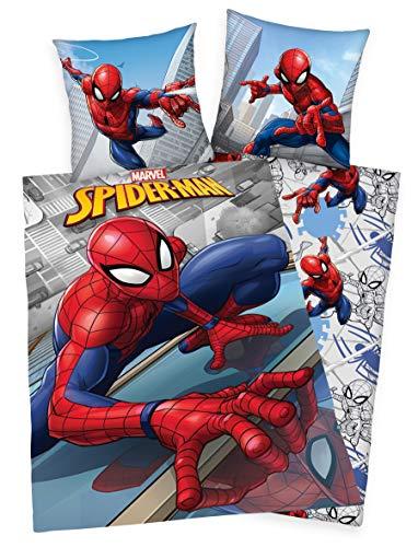Klaus Herding GmbH Marvel Spiderman Bettwäsche 80x80 + 135x200cm 100% Baumwolle mit Reißverschluss