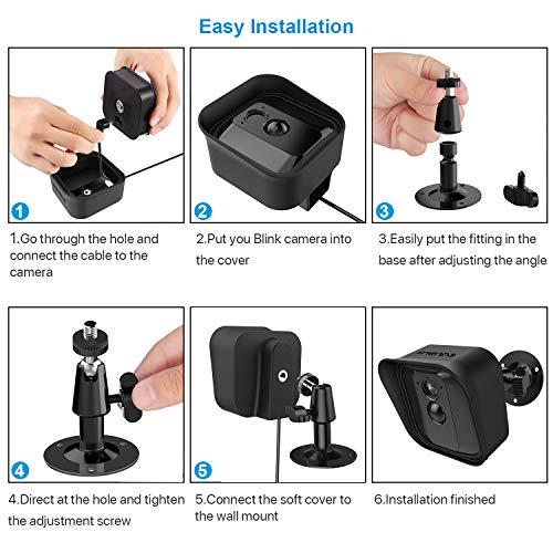 360 Grad Einstellbare Wandhalterung und Silikon Schutzhülle für Blink XT Drinnen/Draußen Sicherheit Kamera (3, Schwarz)