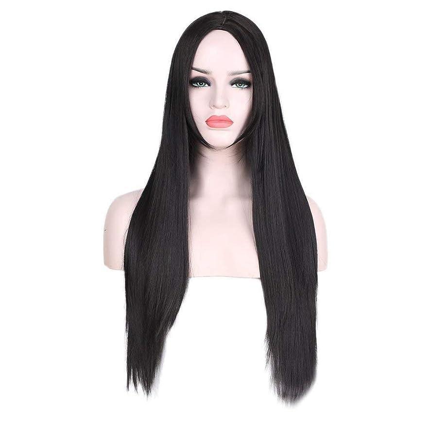 怠感パテアーサーコナンドイルBOBIDYEE 黒とストレートストレートヘアヨーロッパとアメリカのかつら女性の耐熱繊維女性の合成かつらレースかつらロールプレイングかつら (色 : 黒)