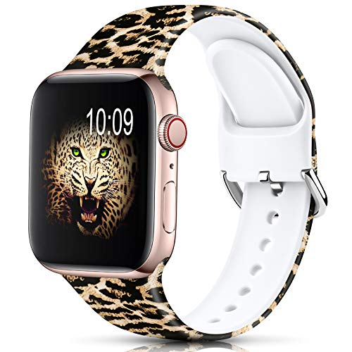 DigiHero Sport Strap Compatible with Apple Watch Straps 38mm 40mm 42mm 44mm for Women Men,Floral Silicone Printed Fadeless Pattern Replacement Strap Band for iWatch Series 6/5/4/3/2/1, Leopard D
