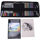 Juego de lápices de colores coloridos de 44 piezas, juego de lápices de acuarela profesionales con bolsa de nailon portátil, para libros de colorear para adultos, dibujo de artistas