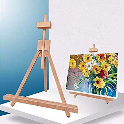 """Miratuso Painting Easel, Folding Wooden Tabletop Easel Stand Holds Highest to 21"""" Canvas, Portable Desktop Easel Suitable for Artists, Beginners, Students"""