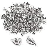 Dylan-EU 100 Stück Metall Punk Ziernieten DIY Handwerk Schraubennieten Silber Spitz Punk Nieten für Gepäck, Gürtel, Jacken, Schuhe, Armbänder, Hüte, Handschuhe 7 * 10 mm