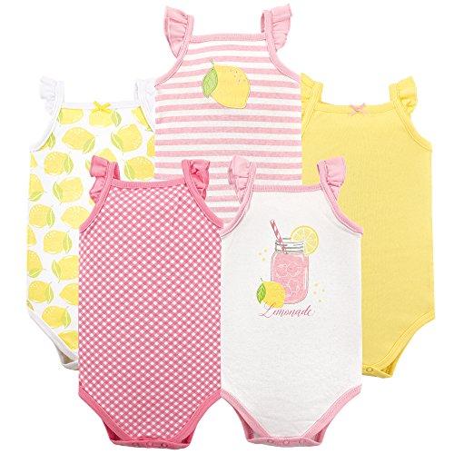 Hudson Baby Unisex Baby Cotton Sleeveless Bodysuits, Lemonade, 0-3 Months