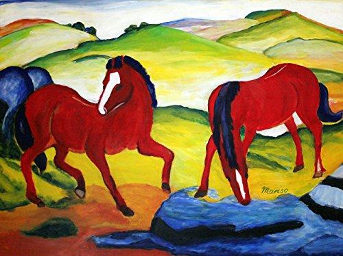 Wildpferde und Landschaft Kunstdruck Leinwand 60*40cm vom eigenen Acrylbild (c)mariso ANGEBOT