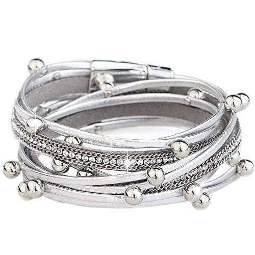 Gleamart Multilayer Leather Wrap Bracelet Beads Wristband Braided Bangle for Women Silver