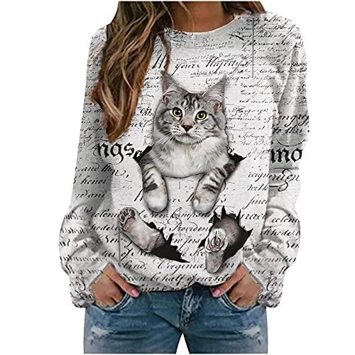 Wave166 Sudadera para mujer con cuello redondo, camiseta de manga larga, diseño de letras, estampado de gatos, ropa deportiva para adolescentes y niñas, Blanco, M
