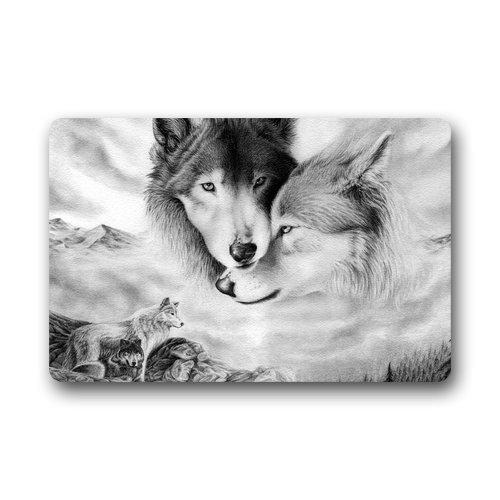 ELQSMTIR Custom Wolf Love Home Fußmatten Top Stoff & Gummi Fußmatte Badezimmer Welcome Mats Fußmatte Teppich Teppiche Indoor-/Bad (59,9x 39,9cm)