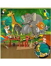 GREAT ART Jungle Dieren - Muurdecoratie Jungle Animal dierentuin Natuur Safari Adventure Tiger leeuw olifant aap fotobehang wandbehang fotoposter wanddecoratie