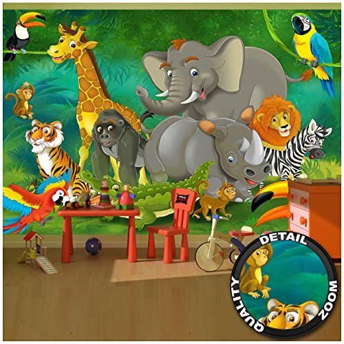 GREAT ART Papier Peint Chambre d'enfant – Jungle Aventure – Décoration Animaux Sauvages de la Jungle forêt Tropicale Zoo Safari Nature Photo Aventure (336 x 238 cm)