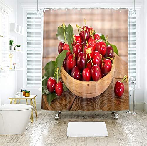 IJNOKM Maschinenwaschbarer Badevorhang mit Haken, Duschvorhang aus Obst, Kirsche, Ananas, wasserabweisender, schimmelresistenter Badvorhang (B) 180 × (H) 180 cm