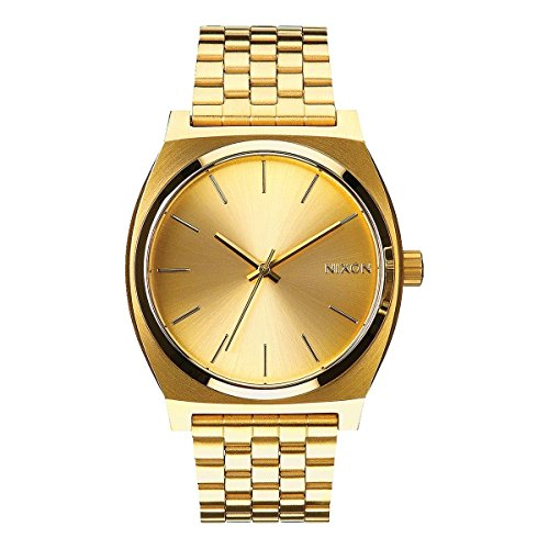 Nixon Time Teller Herrenuhr Analog Quarz mit Edelstahl Armband All Gold / Gold