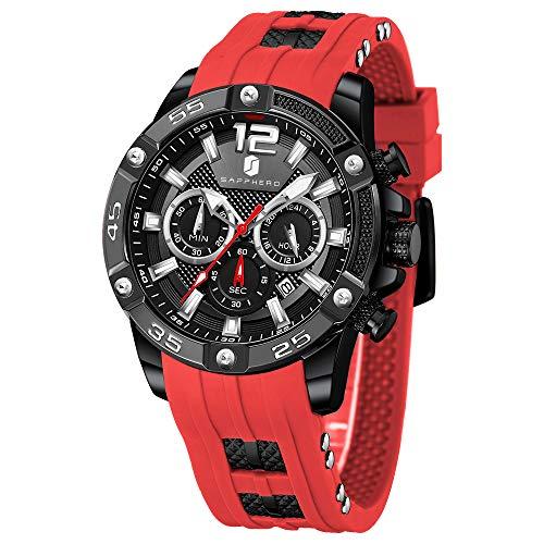 Relojes Hombre SAPPHERO Cronógrafo Multifunción Relojes para Hombres Correa De Silicona 3ATM Impermeable Movimiento De...