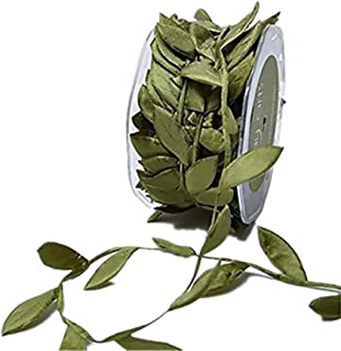 OZXCHIXU(TM) 10 Meters Olive Green Leaf Trim Satin Ribbon for Craft Decoration