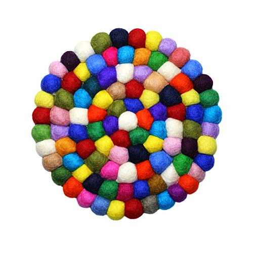 Salvamanteles de fieltro, Multicolor, 8 Inches (2 cm Ball), 1