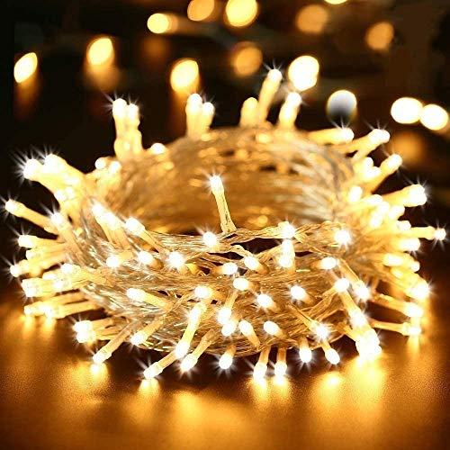 BrizLabs 200 LED Catena Luminosa Esterno 20M Luci Stringa Natalizie Bianco Caldo Interno 8 Modalità Impermeabile Cavo Trasparente per Giardino, Albero di Natale, Matrimonio, Festa