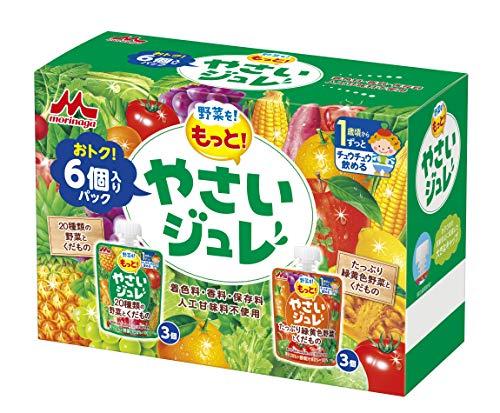森永 野菜をもっと! やさいジュレ 70g×6個パック(2種類×3個) [1歳頃からずっと 20種類の野菜とくだもの たっぷり緑黄色野菜とくだもの]