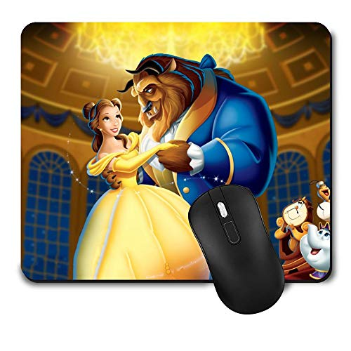 Gaming Mouse Pad Disney Beauty and The Beast Dance,Funny Cute Non-Slip Rubber Mousepad for Office Kid Gift (9.5 Inch x 8 Inch Mat)