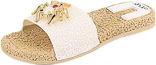 Naimo Women's Rhinestone Sandals Spider Decor Flat Slippers Casual Flip-Flops Flat Slides Sandals
