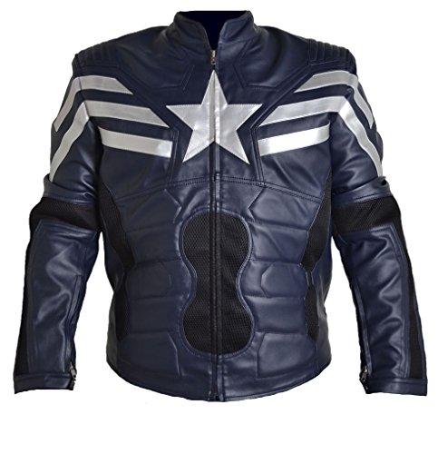 Classyak Chaqueta de cuero para hombre Captain Soldier