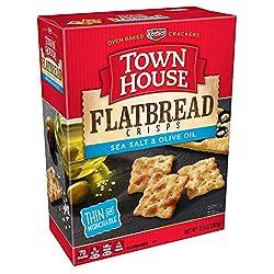 Keebler, Town House Flatbread Crisps, Crackers, Sea Salt and Olive Oil, 9.5 oz