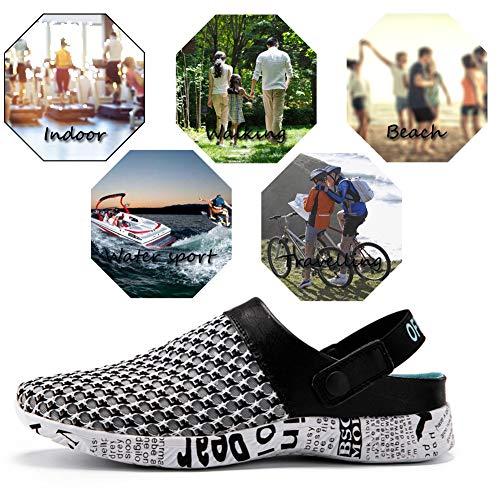 Gaatpot Hombre Zuecos de la Red del Acoplamiento Zapatillas de Playa Ahueca hacia Fuera Las Sandalias Verano Chanclas Negro&Plateado 44EU=45CN