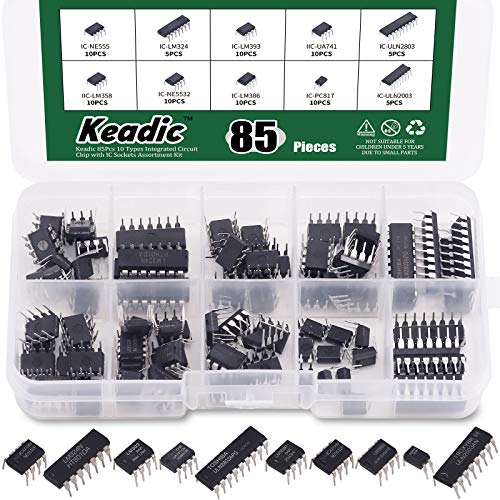Keadic 85 Pieces 10 Types Integrated Circuit Chip Assortment Kit NE555 LM324 LM393 UA741 ULN2803 LM358 LM386 NE5532 ULN2003 PC817, DIP IC Socket Set for Opamp Single Precision Timer Pwm