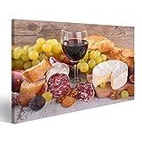 islandburner Bild Bilder auf Leinwand Wein, Käse, Wurst