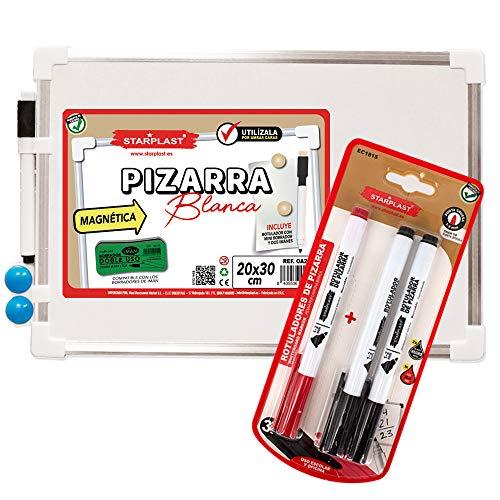 Starplast, Pizarra Magnética, Pizarra Borrable, Pizarra Blanca, con Marco Aluminio, Rotuladores, Imanes, Tamaño 20 x 30 cm, para Uso Escolar.