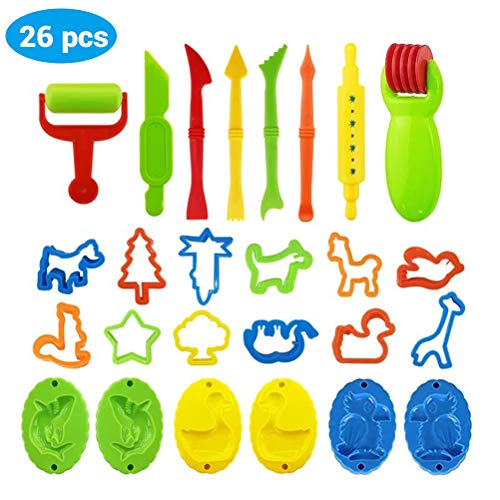 Wiivilik 26PCS DIY Slime Knetmasse Mold Modelliermasse Kit Slime Kunststoff Knete Werkzeug-Satz für Kinder-Kind-Geschenk-Form