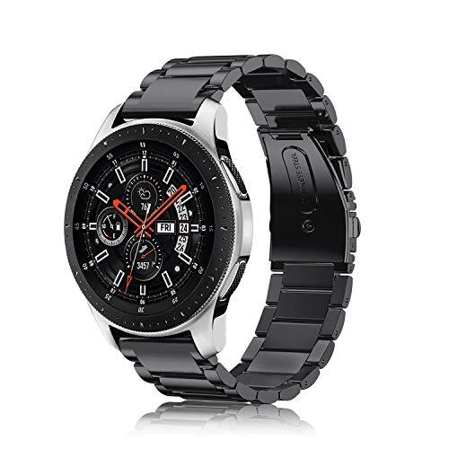 Fintie Armband kompatibel mit Samsung Galaxy Watch 3 45mm/ Galaxy Watch 46mm/Gear S3 Frontier/Gear S3 Classic - 22mm Uhrenarmband Edelstahl Metall Ersatzband mit Doppelt Faltschließe, Schwarz