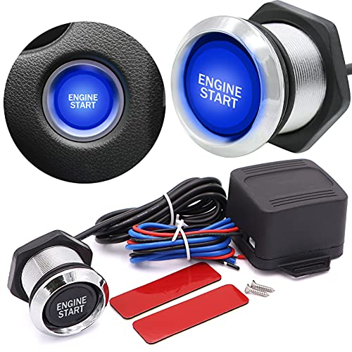 Universal LED 12V Car Ignition Switch Engine Start Push Button Switch(Blue)