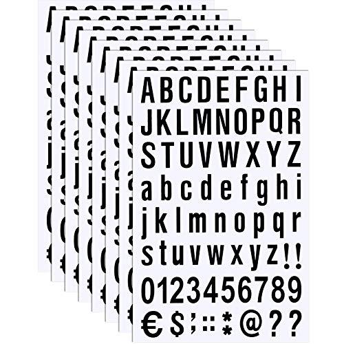 Kit de 8 Hojas de Números Letras de Vinilo Autoadhesivo, Pegatina de Números de Buzón para Letrero, Ventana, Puerta, Coche, Camión, Hogar, Negocio, Dirección (Negro, 1 Pulgada)