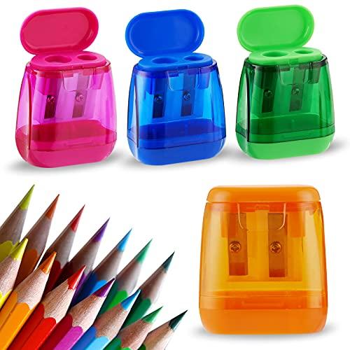 Sonuimy Pencil Sharpeners Bulk,4 Pcs Manual Pencil Sharpeners,Dual Holes Compact Colored Handheld...