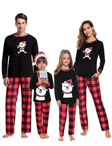 Aibrou Kinder Winter Schlafanzüge Karierte Schlafanzug lang Weihnachten Rundhals Zweiteiliger Pyjama Set, Langarm Shirt und Karierte Pyjamahose Rot XL