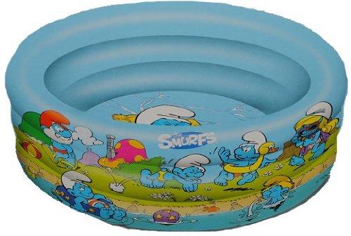 alles-meine.de GmbH PLANSCHBECKEN Pool 100 cm 3 Ringe Schlümpfe - Kinder-Pool KINDERPOOL - zum Aufblasen