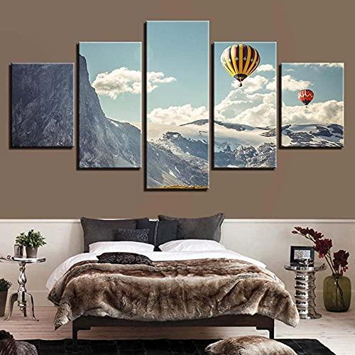 WKXZZS Cuadros Decoracion Dormitorios 5 Piezas 150x80cm - Cuadro sobre Lienzo - Impresión En Lienzo Montado sobre Marco De Madera - Globos de Aire Caliente en Las montañas