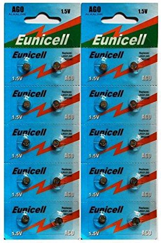 Eunicelle AG0 Lot de 20 piles pour montre Modèles LR521/379/SR521SW