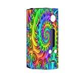 Skin Decal Vinyl Wrap for Wisemec Reuleaux rx200 or evolv dna 200 Vape Mod Box / Trippy Color Swirl