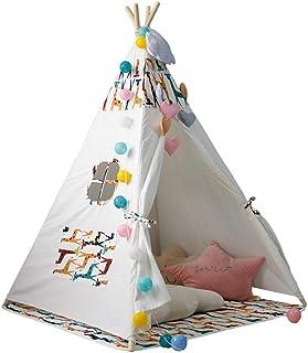 YYRCP tipi-tält för barn, bärbar barn bomull kanvas tipi indisk stil lektält lekstuga, flicka spel tält med fönster, vikba...