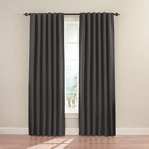 """ECLIPSE Fresno Thermal Insulated Single Panel Rod Pocket Darkening Curtains for Living Room, 52"""" x 84"""", Charcoal"""