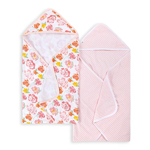 Burt's Bees Baby® Baby Girls' Set of 2 Rosy Spring Hooded Towels - Pink