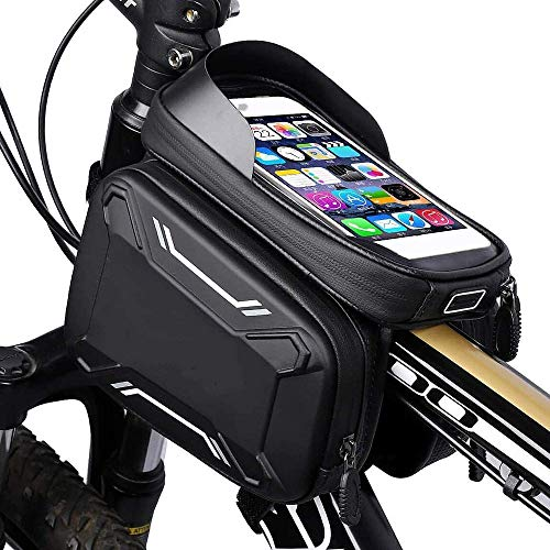 JY Bici Gran Capacidad Lavable Bolsa de Teléfono Bolsillo Doble Frontal de Tubo Bolsa Bolsas para Sillines Portátil Bolsa de Marco de Bicicleta Saco de Herramientas Paquete de Admis