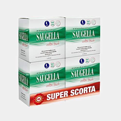 Saugella Saugella Cotton Touch Assorbenti Esterni Notte Ad Azione Antiodore Con Ali In Cotone Ipoallergenici 48 Pezzi - 80 g