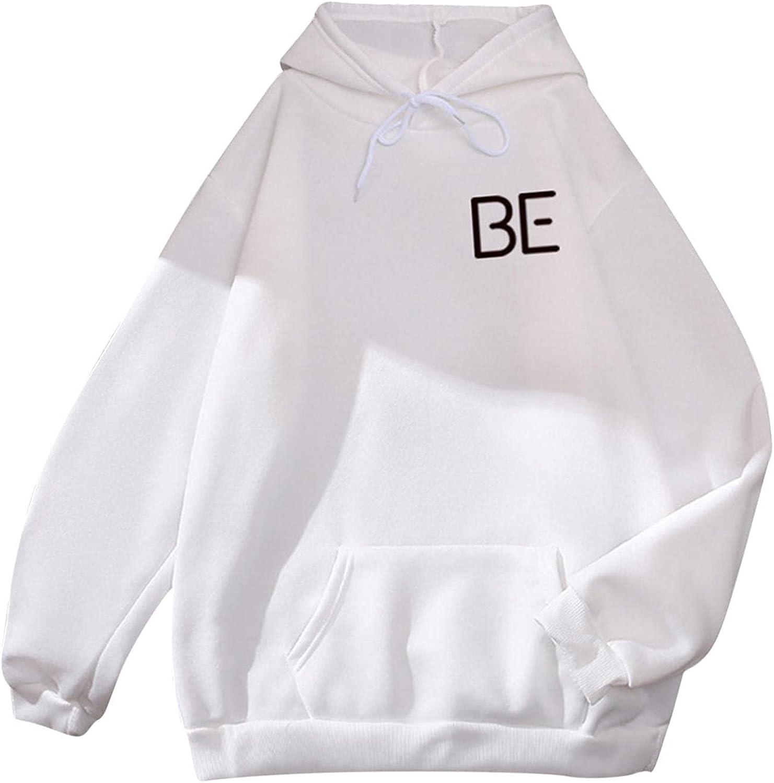 Toeava Sweatshirt for Women Oversized BE Letter Print Graphic Fleece Crewneck Hoodie Long Sleeve Pullover Tops Shirts